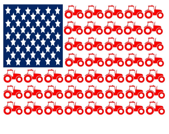 Tractor flag modern digital file, digital cut file, sublimation, printable, cutable, svg, pdf, png, eps, dxf, cricut, silhouette 4th of july