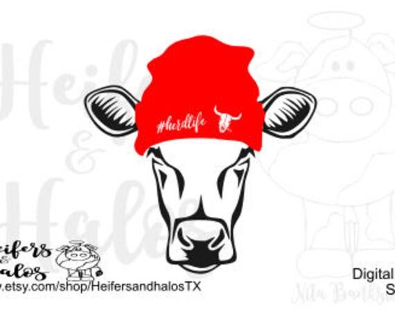 cow heifer beanie herd life digital cut file svg, pdf, png, eps, dxf, studio3, cow thug life, cattle, punchy, ranchy, western, farm