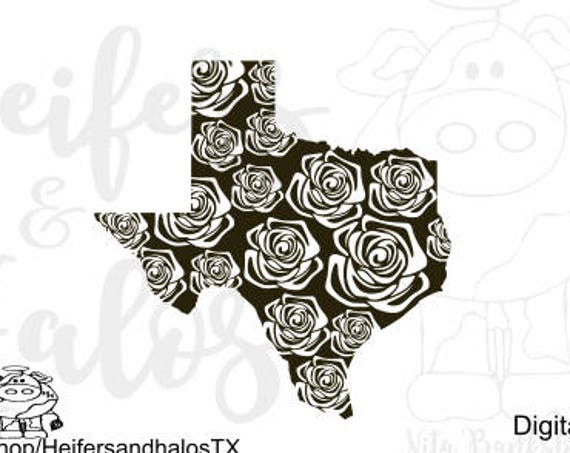 Texas Rose svg cut file for cricut, silhouette, use for t-shirts, decals, and yeti cups, Texas Pride