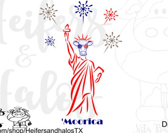 4th of July 'Moorica svg cut file.  Fun for t-shirts, yeti cups, and decals for cow lovers.  Ranchy, ranch, farm, cattle