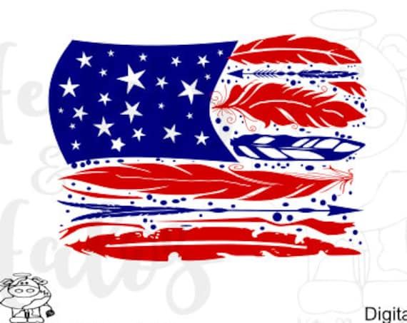 Boho Feather USA Flag SVG 1 distressed and 1 regular - 4th of July, Patriotic cut file for cricut & silhouette. T-shirts, yeti cups, decals