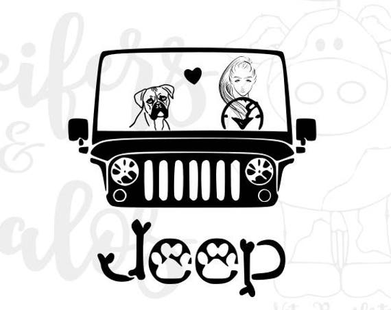 My boxer rides shotgun jeep digital cut file - svg, png, pdf, eps, dxf, studio3 - cricut, silhouette, for t-shirts, decals, yeti cups