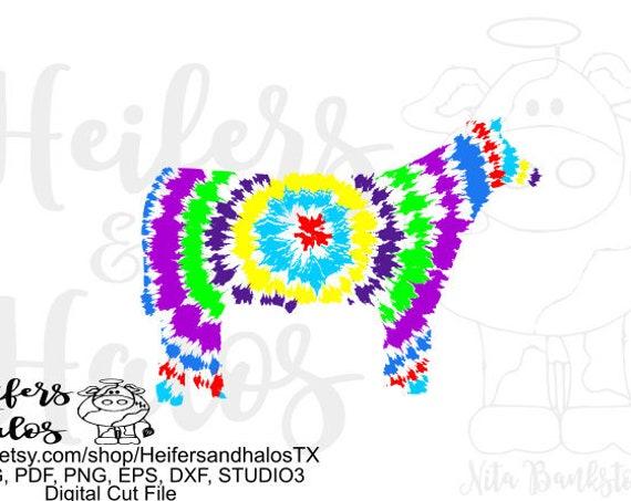 Tie dyed steer svg, digital cut file, print file, svg, pdf, png, eps, dxf, studio 3, studio, livestock show, show steer, t-shirt design