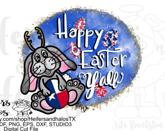 Sublimation file, Happy Easter Y'all with Jackalope bunny and Texas flag