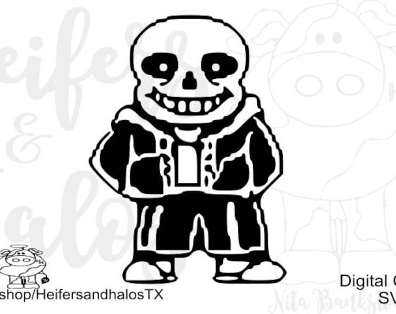 Sans Skeleton black video game svg, png, pdf, eps, dxf cut file for t-shirts, decals, yeti cups, cricut, silhouette cameo, video game, game