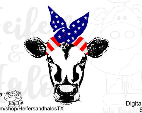 Patriotic Bandana heifer svg, png, pdf, eps, dxf cut file for cricut and silhouette, t-shirts, decals, yeti cups, 4th of July patriotic
