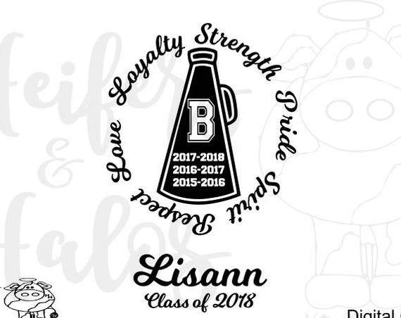 Senior cheer megaphone customization included svg, png, pdf, dxf, eps.  Great for t-shirts and cups, show your spirit!