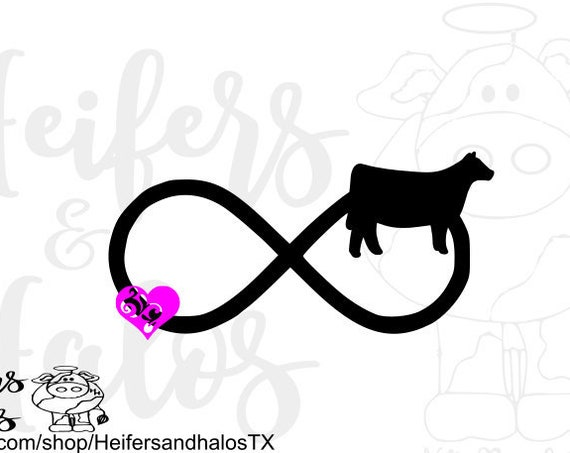 Livestock show heifer infinity with heart, digital file, svg, pdf, png, eps, dxf, studio3. studio2, t-shirt design, cup design, show cow