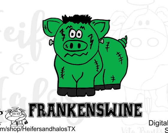 Frankenswine Halloween svg, png, pdf, eps, dxf, studio3, design t-shirts, decals, yeti cups, farming, cricut, silhouette, show hog, pig