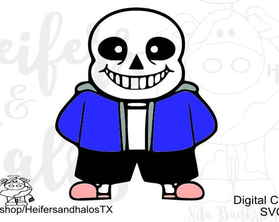 Sans Skeleton, Undertale, color svg, png, pdf, eps, dxf cut file, t-shirts, decals, yeti cups, video game, gamer, game, cricut, silhouette