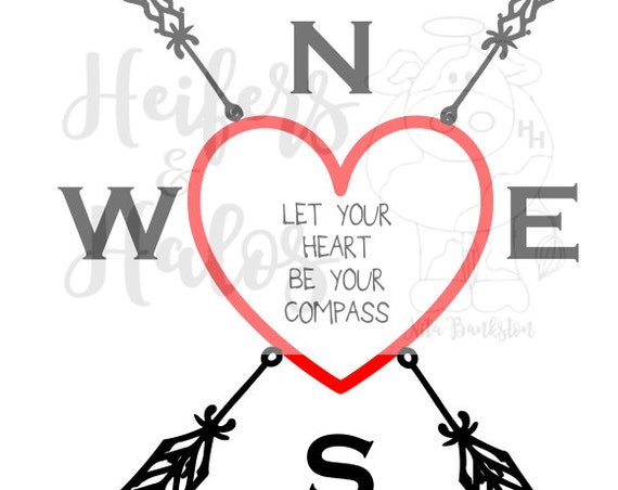Let your heart be your compass svg valentines, cricut, silhouette, digital cut file