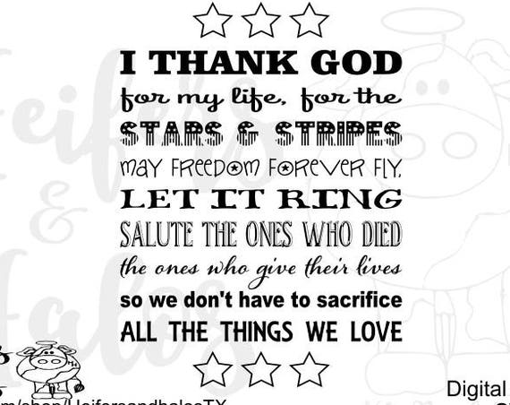 Stars and Stripes svg, png, pdf, eps, dxf cut file for cricut and silhouette, t-shirts, decals, yeti cups, 4th of July, patriotic, song