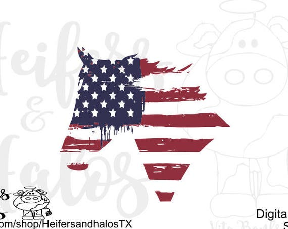 USA Flag Horse svg cut file for cricut and silhouette, t-shirts, decals, yeti cups, water bottles, western, ranchy, ranch, 4th of July