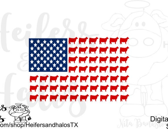Cow Flag SVG, PNG, PDF cut file for cricut, silhouette - 4th of July, T-shirts, yeti cup, decals, farming, ranching, country, western