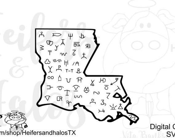 Louisiana State Brands digital cut file - svg and studio3 for cricut an silhouette.  T-shirts, decals, cups