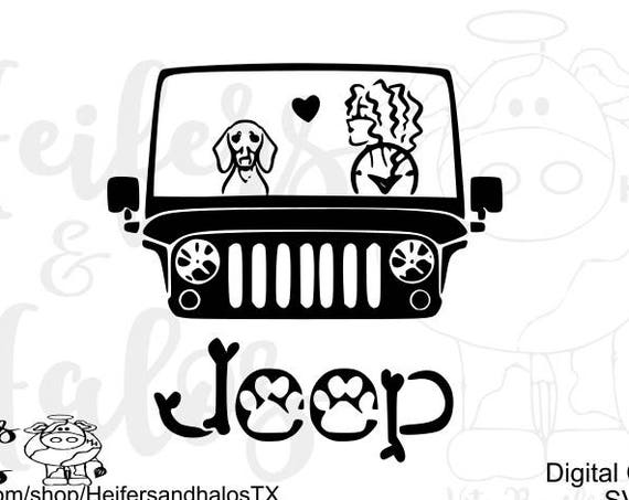 Wienie Dogs and Jeeps are a Girl's Best Friend - This svg file makes the perfect t shirt for jeep and wienie, dachshund, doxie dog lovers