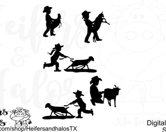 Youth Rodeo goat throwing and ribbon pulling CUT FILE, svg, pdf, png, eps, dxf for silhouette and cricut. Make t-shirts, decals, cups, etc