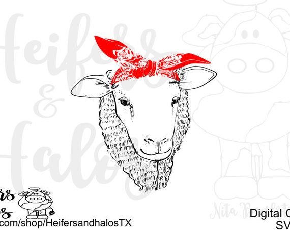 Bandana sheep, lamb digital cut file, svg, png, pdf, eps, dxf, studio3, cricut, silhouette, t-shirts, decals, cups, farming, ranching