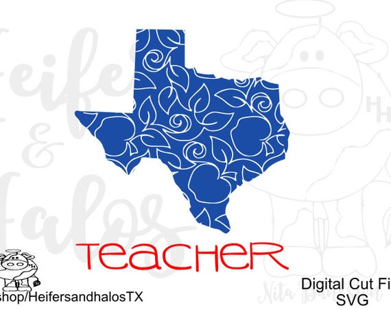 Texas teacher with apple design.  This is a digital file for use with t-shirts, decals, yeti cups, water bottles, etc for cutting machines