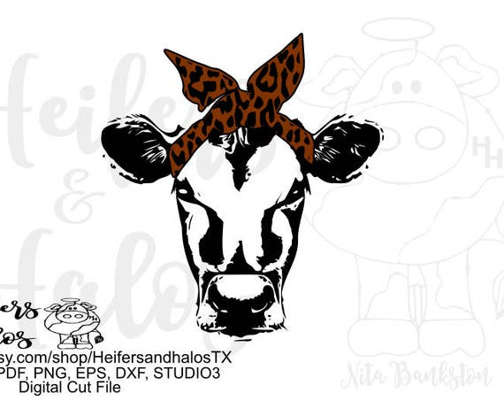 Bandana Leopard Print Cow digital cut file, svg, png, pdf, eps, dxf, studio3, t-shirt design, cup design, decal design, cricut, silhouette