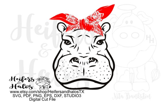 Bandana hippo digtial file, printable, digital cut file, sublimation, svg, pdf, png, eps, dxf, cricut, silhouette