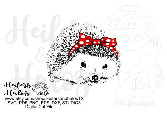 Bandana hedgehog digital file, digital cut file, printable, sublimation, svg, pdf, png, eps, dxf, cricut, silhouette
