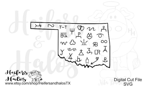 Oklahoma Brand, cattle brands, Oklahoma SVG cut file or cricut and silhouette.  T-shirts, decals, yeti cups, signs, etc. Western ranchy