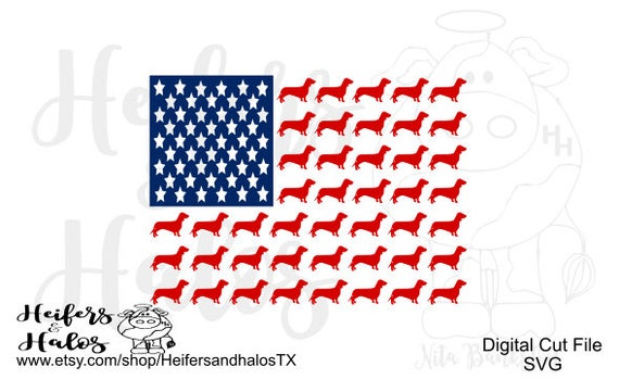 Doxie Dachshund, Weenie Dog American Flag, svg, pdf, png, eps cut file or t-shirts, decals, yeti cups.  4th of July, dog svg