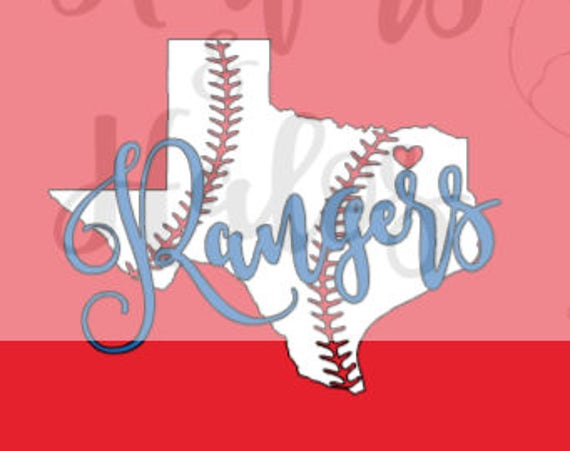 Texas Rangers Baseball with baseball state of Texas - perfect for t shirts or decals!