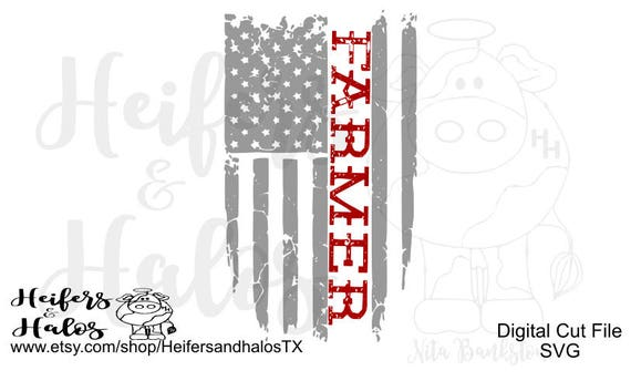 Farmer distressed flag svg cut file | cricut, silhouette | t-shirts, yeti cup design, decal | patriotic | farming
