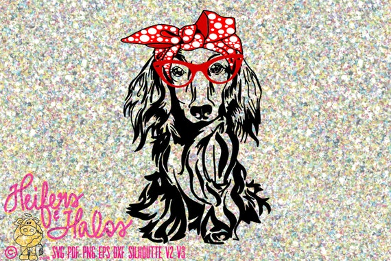 Dachshund long hair with bow bandana and glasses, digital file, cut file, sublimation, printable, decal design, t-shirt design, cut file