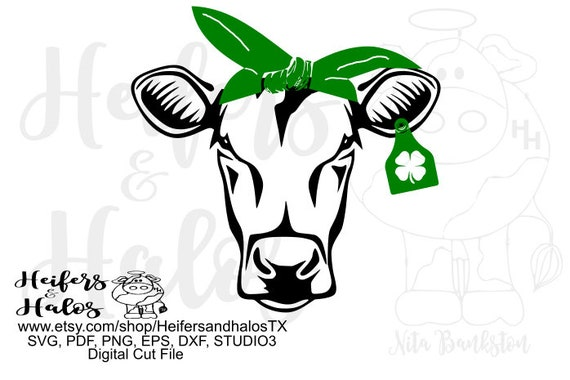 4H bandana heifer digital cut file, svg, png, eps, dxf, studio, studio3, pdf, sublimation, printable