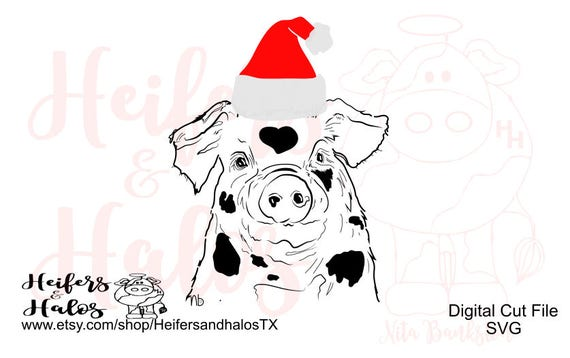 Santa Pig Christmas Country digital cut file for cricut and silhouette. t-shirts, decals, cups, country, ranch, farming, punchy, ranchy
