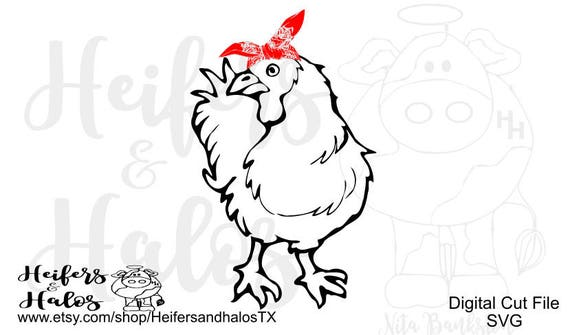 bandana chicken digital file for cutting machines, cricut, silhouette, sublimation, printing, hen, rooster, country, farm