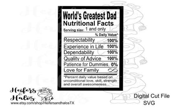 World's greatest dad nutritional facts svg cut file, Father's Day, cricut, cameo silhouette, t-shirt, decal, yeti cup