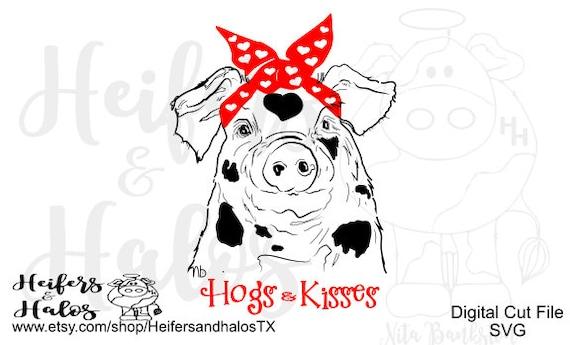 Hogs and Kisses bandana pig digital cut file svg, pdf, png, eps, dxf, studio 3 digital cut file design for shirts