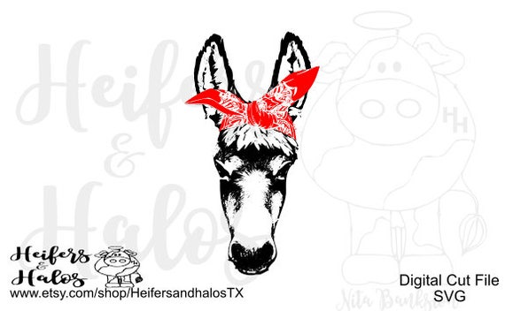 Bandana Donkey digital file for cutting, printing, sublimation, svg, pdf, png, eps, dxf, studio3, t-shirt design