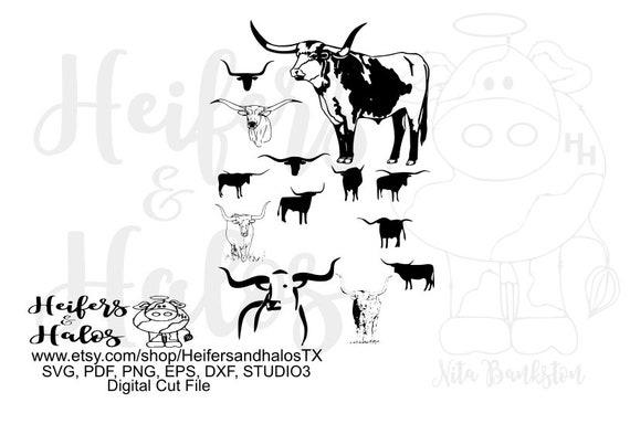 Longhorns design elements printable, digital file, digital cut file, svg, pdf, png, eps, dxf use in your own designs
