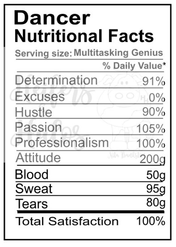 Dancer Nutritional Facts