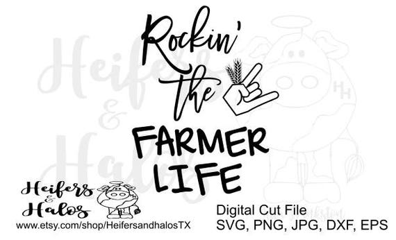 Rockin' the Farmer Life svg cut file for cricut and cameo silhouette.  Great for t-shirts, decals, and yeti cups.