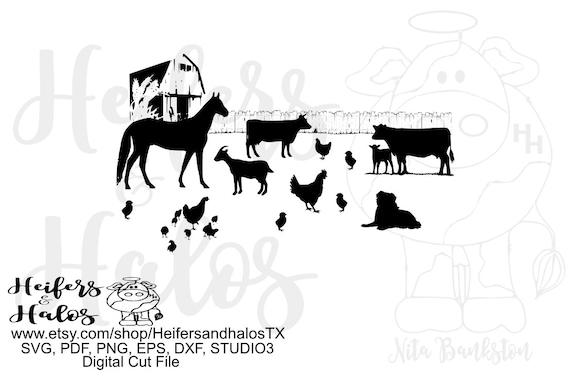 Farm animal barn and fence scene digital file, printable, digital cut file, cricut, silhouette, svg, pdf, png, eps, dxf, horse, dog, cows