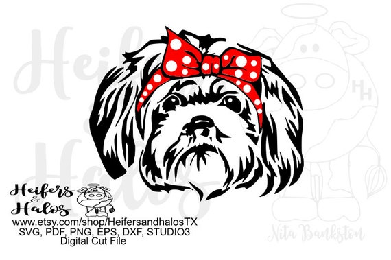 Bandanna shitzu dog digital cut file, printable, editable,sublimation, digital cut file for cricut and silhouette, svg, pdf, png, eps, dxf