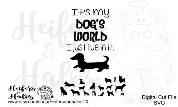 It's my Dog's World, I just live in it svg, png, pdf, eps cut file, various dog breeds, t-shirt, decal, yeti cups, boxer, doxie, yorkie, etc
