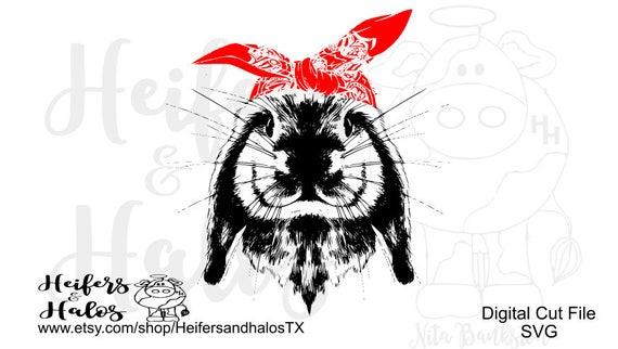 Bandana bunny rabbit digital file for print, sublimation, cricut, silhouette, cutting machines, t-shirt design, svg pdf png eps dxf studio3