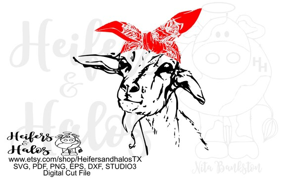 Bandana goat realistic digital file, printable, sublimation, digital cut file, svg, pdf, png, eps,dxf cricut and silhouette