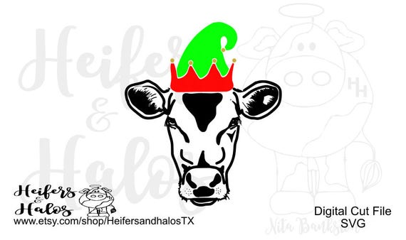 Elf Christmas Cow Heifer cattle digital cut file for cricut and silhouette, farming, ranching, t-shirt, decal, cups, svg, pdf, png, eps, dxf