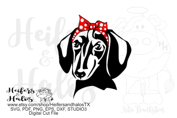 Bandana dachshund black and tan digital file, digital cut file, sublimation, printable, svg, pdf, png, eps, dxf, cricut silhouette