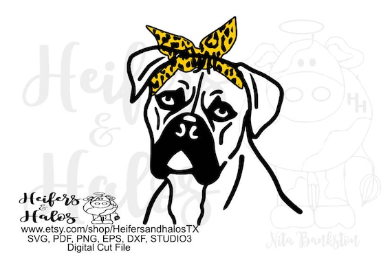 Boxer dog with leopard print bandana digital file, svg, pdf, png, eps, dxf, studio3 for t-shirt, decal, cup designs