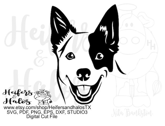 blue heeler dog digital file clip art cut file, use for cutting, sublimation, printing, stickers, t-shirts