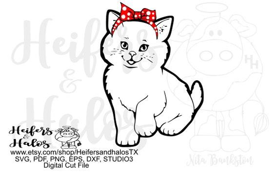 Bandana cat digital file, digital cut file, printable, sublimation, cricut, silhouette, t-shirt design, svg, pdf, png, eps, dxf